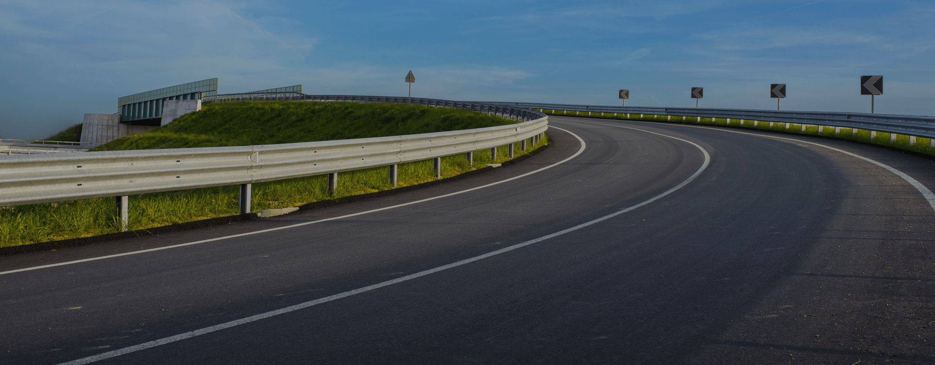 road with armco barriers